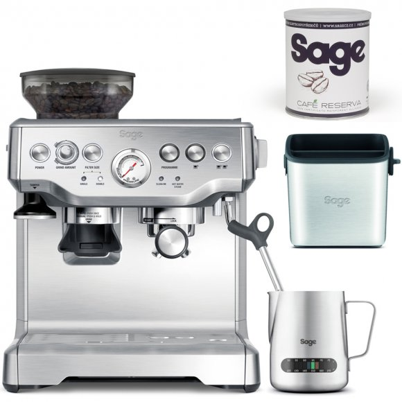 BES875BSS Espresso SAGE + Odklepávač BES100 + Konvička BES003 + Káva Reserva